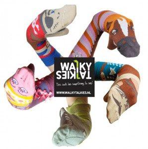 walkytalkies hippe kindersok vrolijke sokpop