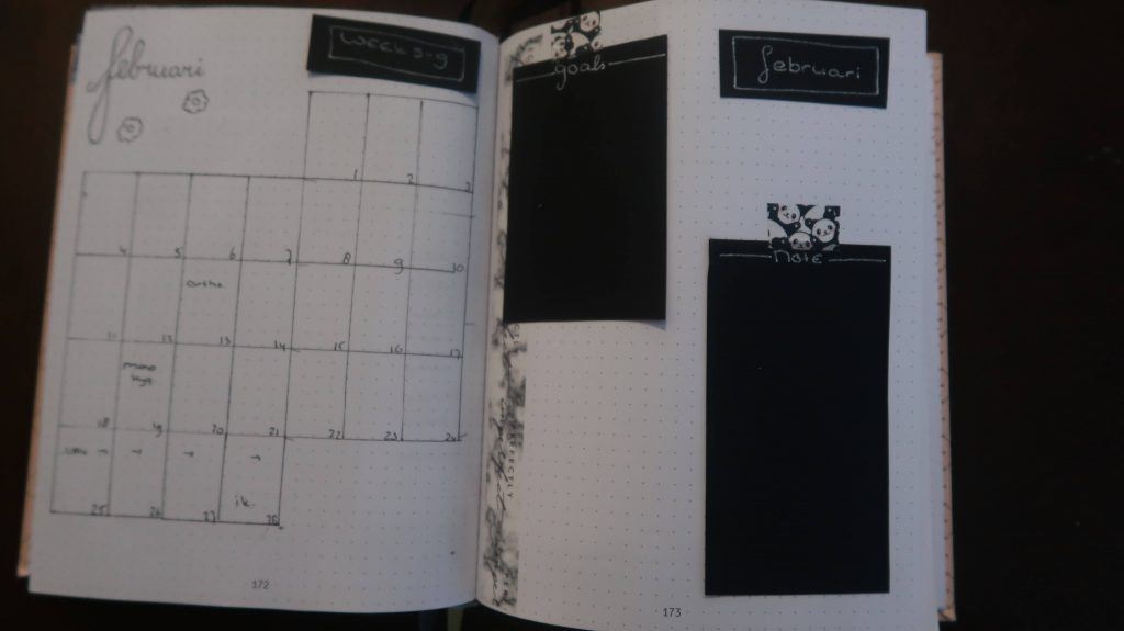 februari weekly spread bullet journal