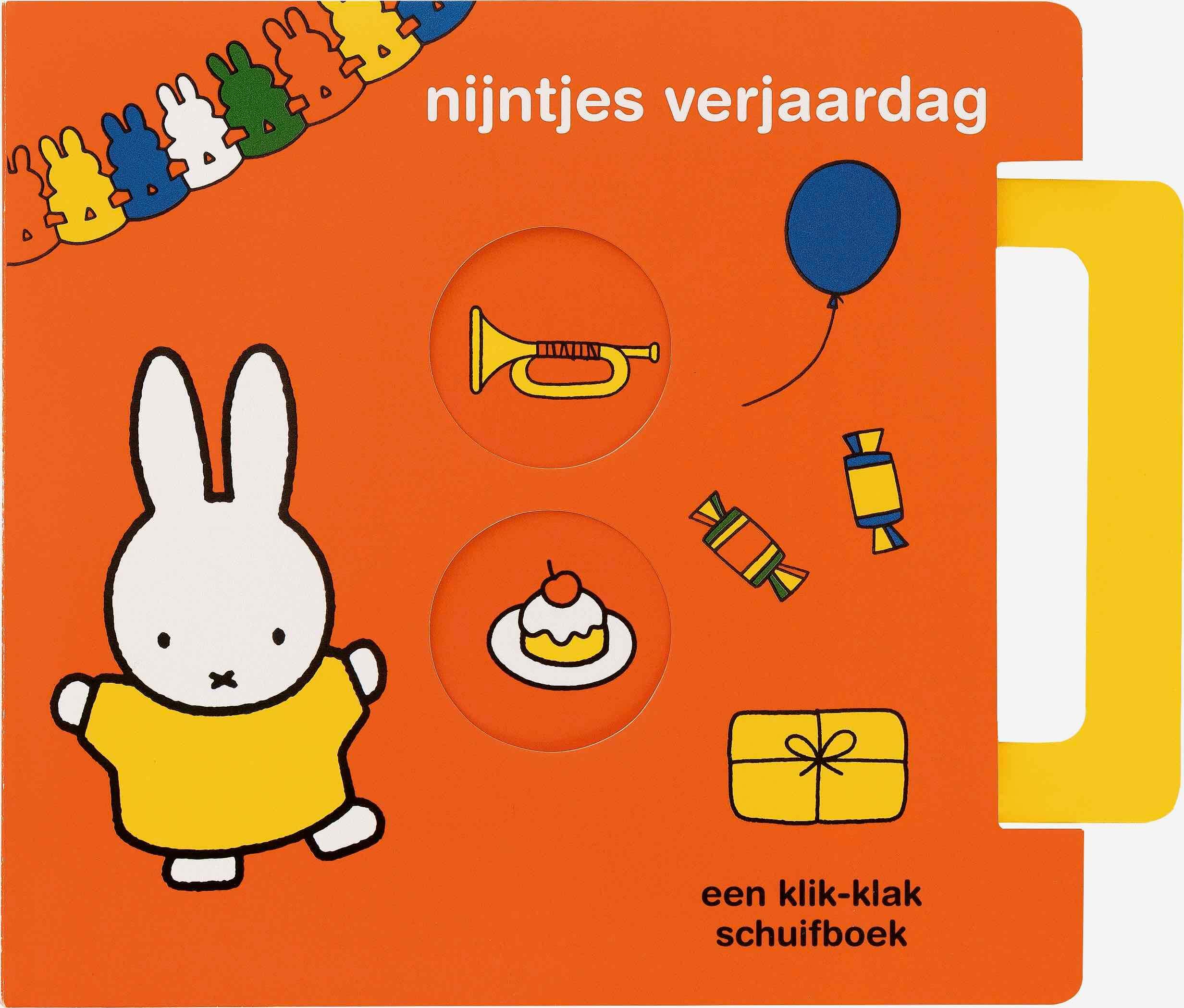 Vier nijntjes verjaardag met het speciale klik-klak schuifboek