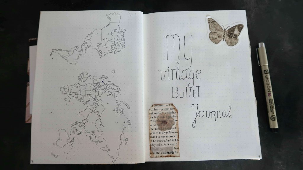 Pagina inspiratie voor in een Vintage Bullet Journal
